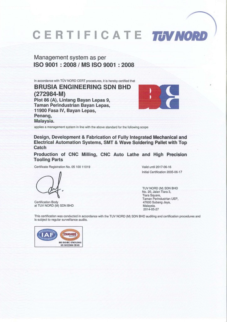 Certifications Brusia Engineering Sdn Bhd